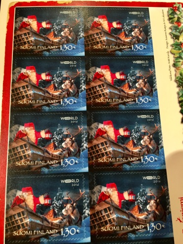 Beautiful Santa postal stamps