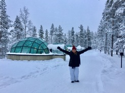 In front of the igloos!