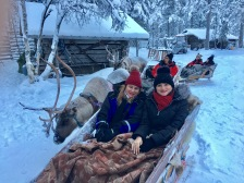 Raindeer sleigh ride in Ivalo, Finland